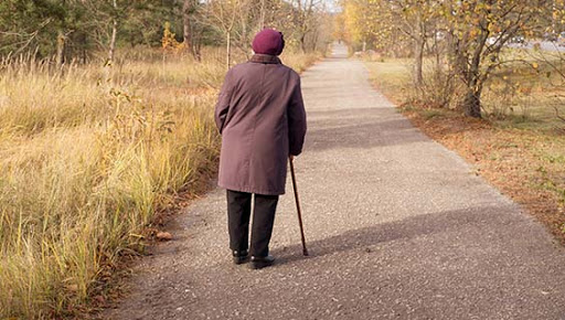 Lonely elderly woman walks in autumn park
